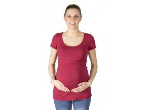 kojící a Těhotenské tričko z modalu Rialto Delies, tm.červená 0645 (Dámská velikost 36)