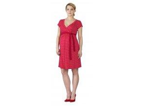 Těhotenské a kojící šaty Rialto Larochette červená s puntíky 0562 (Dámská velikost 36)