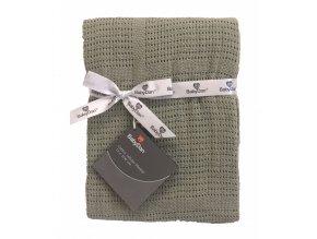 Dětská háčkovaná bavlněná deka Babydan Dusty Green, 75x100cm
