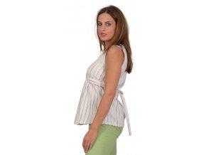 Těhotenská halenka Rialto Bavigne zelený proužek 0217