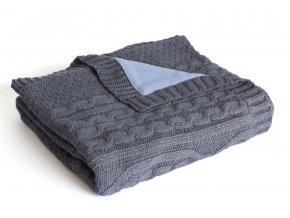 Pletená deka zateplená bavlna, denim, romantika, Rialto Baby