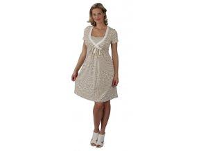 Těhotenské a kojící šaty Rialto Loison – béžová kolečka 7870 (Dámská velikost 36)
