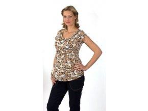 Těhotenské tričko Rialto Salice bílohnědočerné 7693 (Dámská velikost 38)