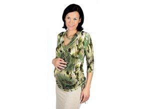 Těhotenské a kojicí tričko Rialto Rully zelená 0150 (Dámská velikost 36)
