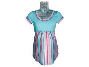 Těhotenské tričko Rialto Salice modrá + růžový pruh 0057 (Dámská velikost 40)