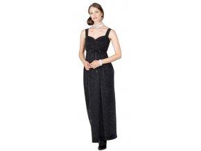 Dámské společenské šaty Rialto HYBIS černá se samet.leskem 0341