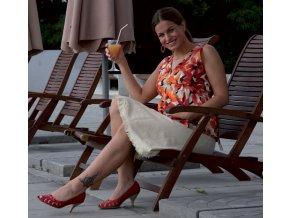 Těhotenská halenka Rialto Bavigne oranžové květy 0214