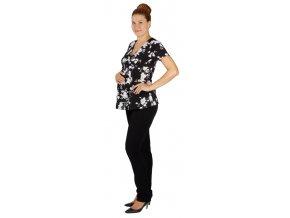 Těhotenská halenka Rialto Bech černá s květy 0120