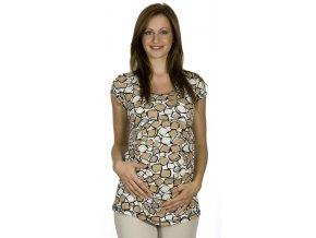 Těhotenské tričko Rialto Piana bílohnědočerná 7693 (Dámská velikost 36)