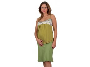 Těhotenská sukně Rialto Sanem lněná zelená 01244