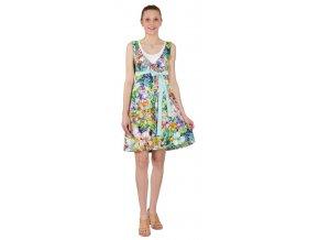 Těhotenské a kojící šaty Rialto Laarne fialové květy 0437 (Dámská velikost 42)