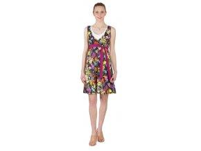 Těhotenské a kojící šaty Rialto Laarne černá s květy 0462 (Dámská velikost 38)