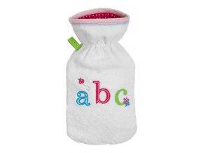 Dětský termofor Bébé-Jou s froté obalem, ABC sv. růžová