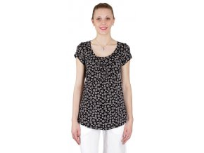 Těhotenské tričko Rialto Remich černá květ 0178 (Dámská velikost 44)