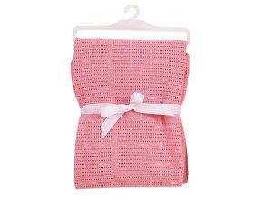 Světle růžová bavlněná deka do kočárku