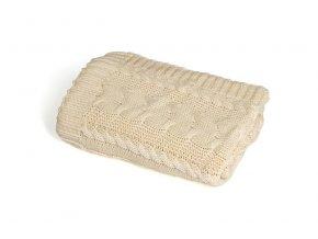 Pletená deka bavlna,béžová,copánky, Rialto Baby