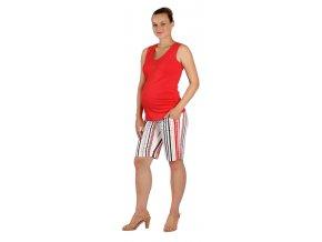 Těhotenské kraťasy Rialto Ans černo-červený proužek 5378 (Dámská velikost 38)