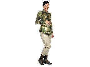 Těhotenské tričko Rialto Remy zelený vzor 0150 (Dámská velikost 36)