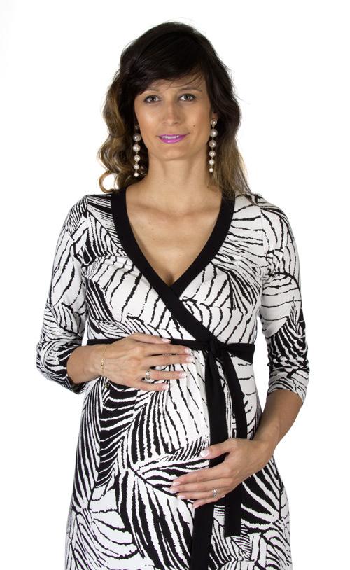 Těhotenské a kojící šaty Rialto Lonffaux černobílé listy 0617