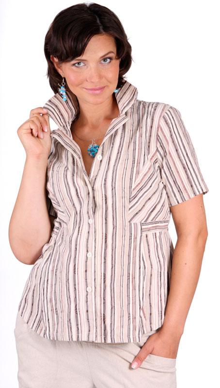 Těhotenská halenka Rialto Ormoy hnědé pruhy 0261
