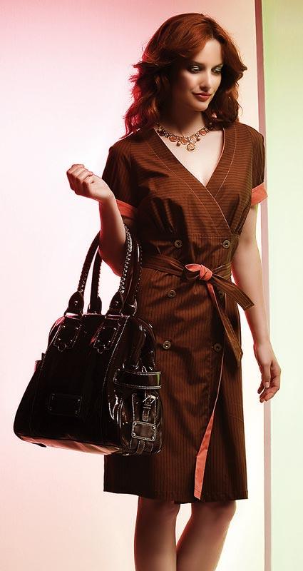 Dámské šaty Rialto ELLA hnědá s pruhem 4400