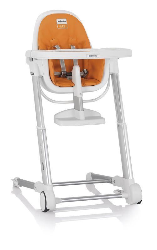 Inglesina ZUMA white/orange jídelní židlička v ekokůži