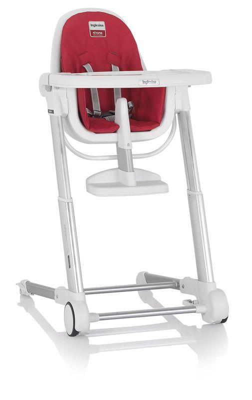 Inglesina ZUMA white/red jídelní židlička v ekokůži