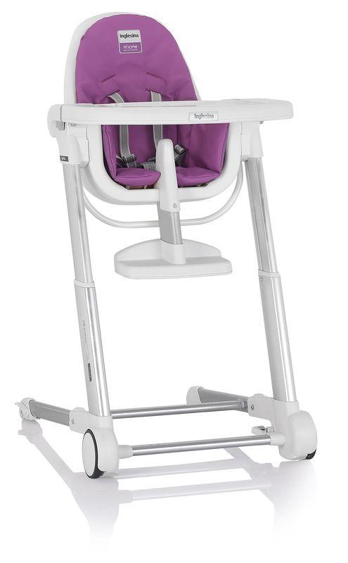 Inglesina ZUMA white/fuxia jídelní židlička v ekokůži