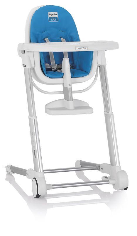 Inglesina ZUMA white/light blue jídelní židlička v ekokůži