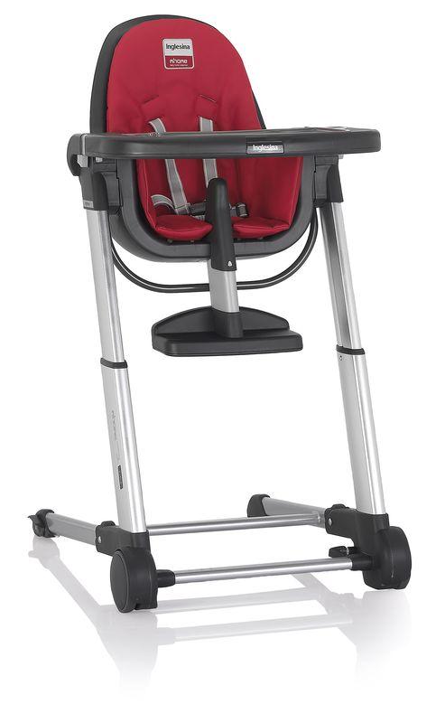 Inglesina ZUMA grey/red jídelní židlička v ekokůži