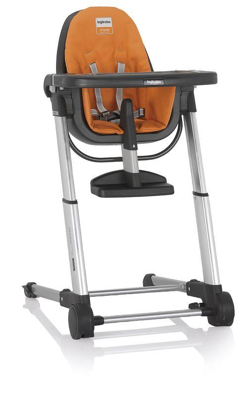 Inglesina ZUMA grey/orange jídelní židlička v ekokůži