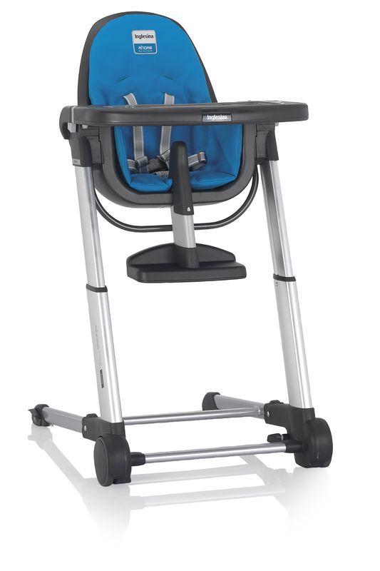 Inglesina ZUMA grey/light blue jídelní židlička v ekokůži