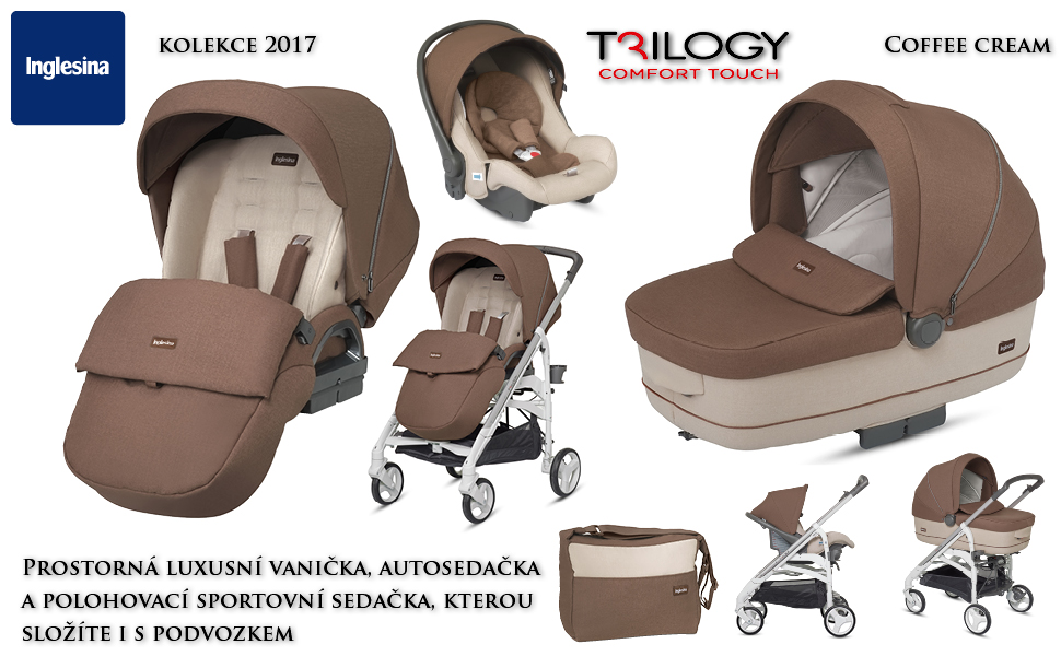Inglesina Trilogy Systém 2017 Comfort Touch s podvozkem Trilogy COFFEE CREAM
