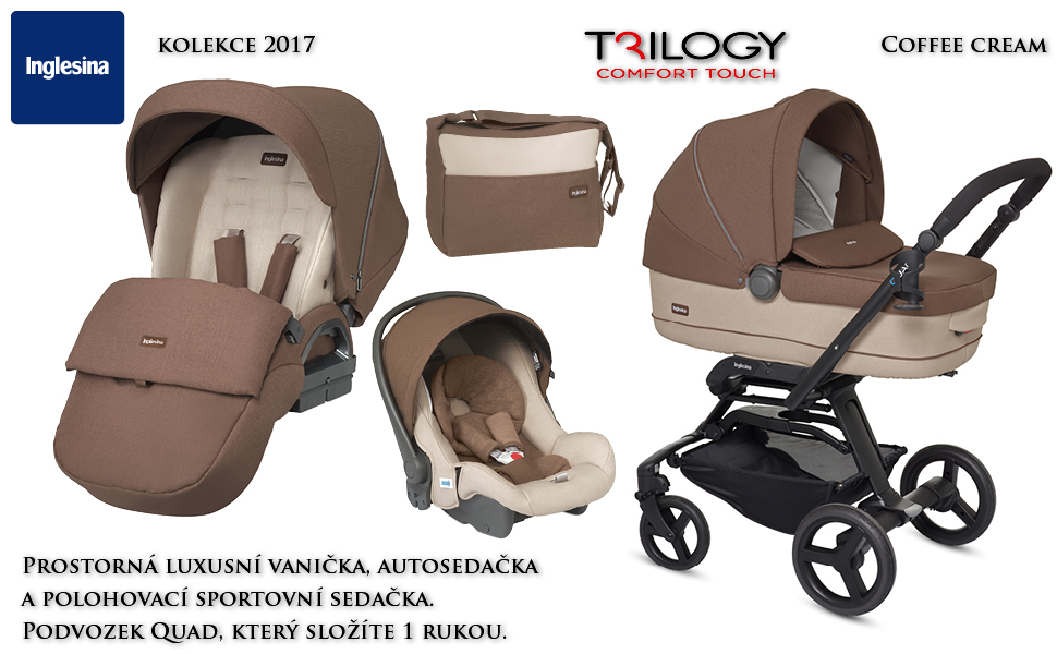 Inglesina Trilogy Systém 2017 Comfort Touch s podvozkem Quad Ekokůže Black White COFFEE CREAM black