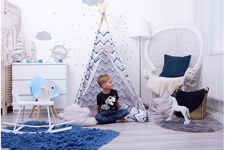 Dětské teepee Cikcak blue grey