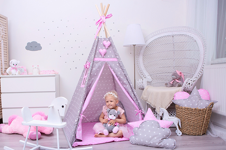 Dětské teepee double stars pink