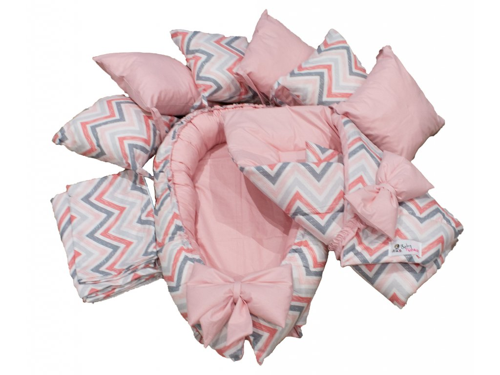 "Výbavička pro miminko ""M"" - Chevron pink"