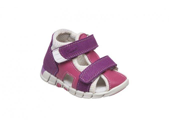 Kožené sandále Santé bílo/fialová