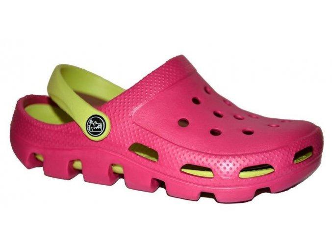 Plážová obuv růžovozelená