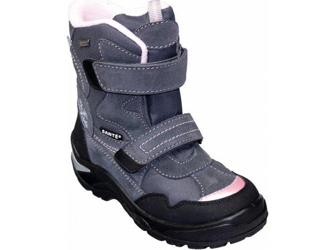 Santé zimní obuv s membránou CEMENTO šedo/růžová