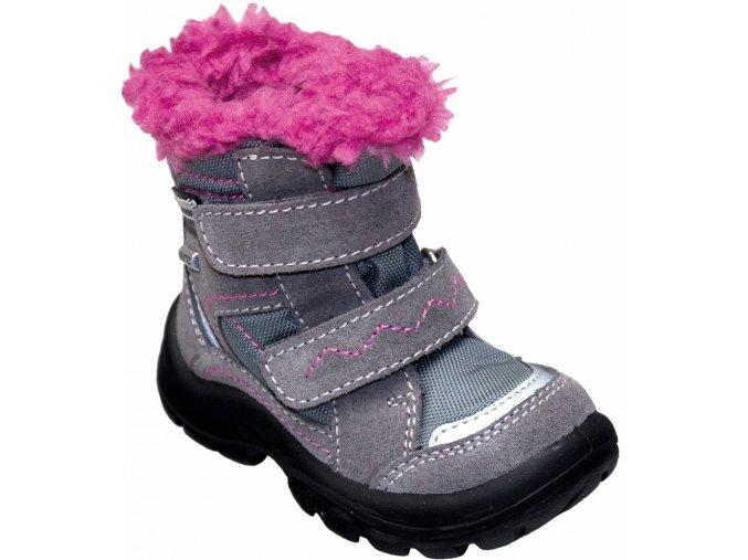 Santé zimní obuv s membránou PEPE šedo/růžová