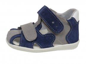 Kožené sandále Jonap modro-šedá