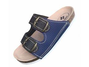 Pantofle Santé ŠEDE/MODRÉ UNI
