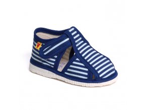 detska obuv papuce modry pasik 106