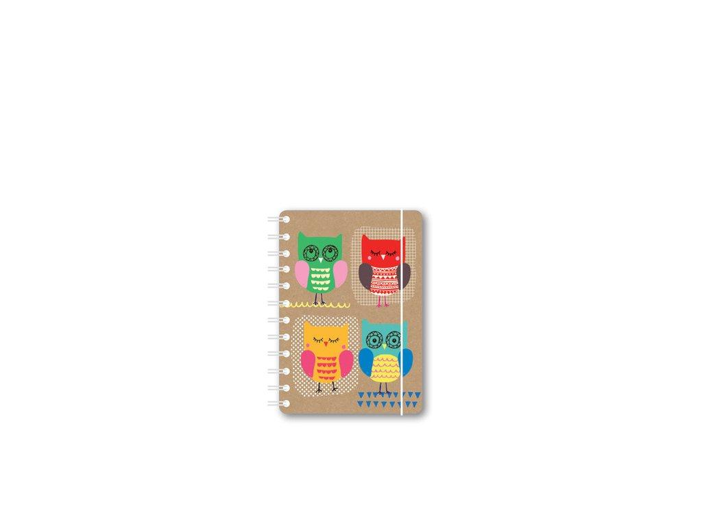 Kroužkový zápisník s motivem soviček A6