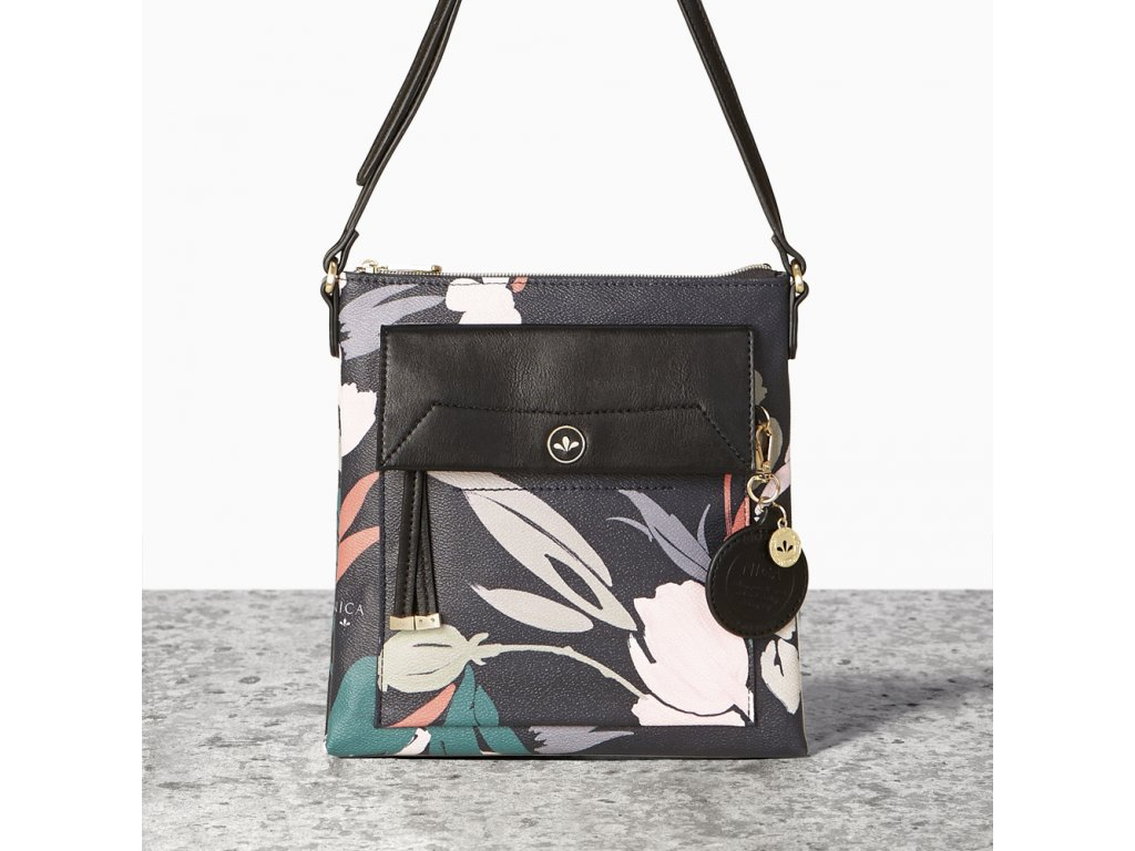 Malá černá kabelka crossbody NICA - Flower Collection