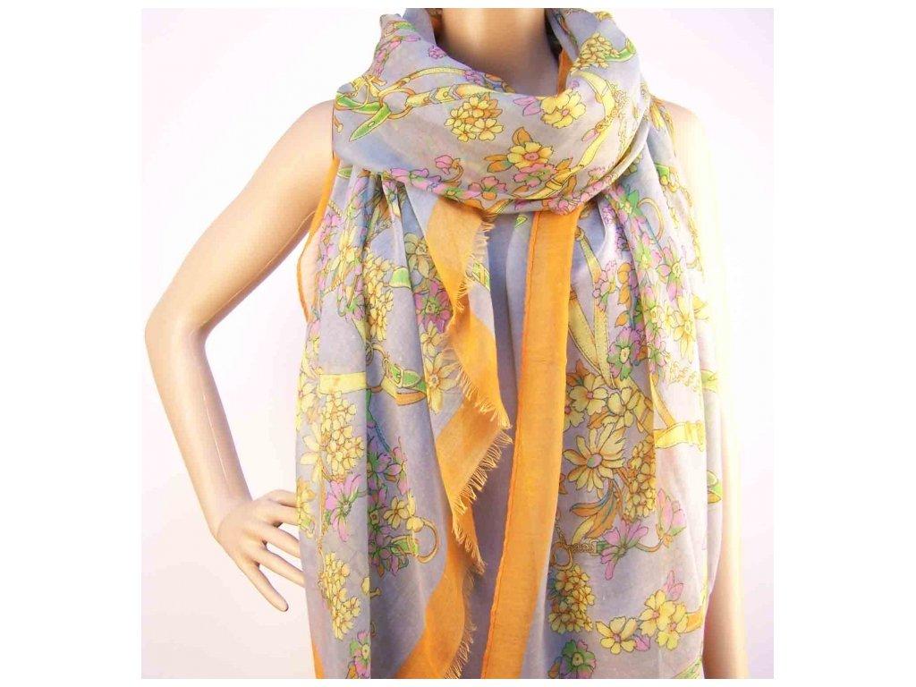Šátek s motivem květin - Šedo oranžový