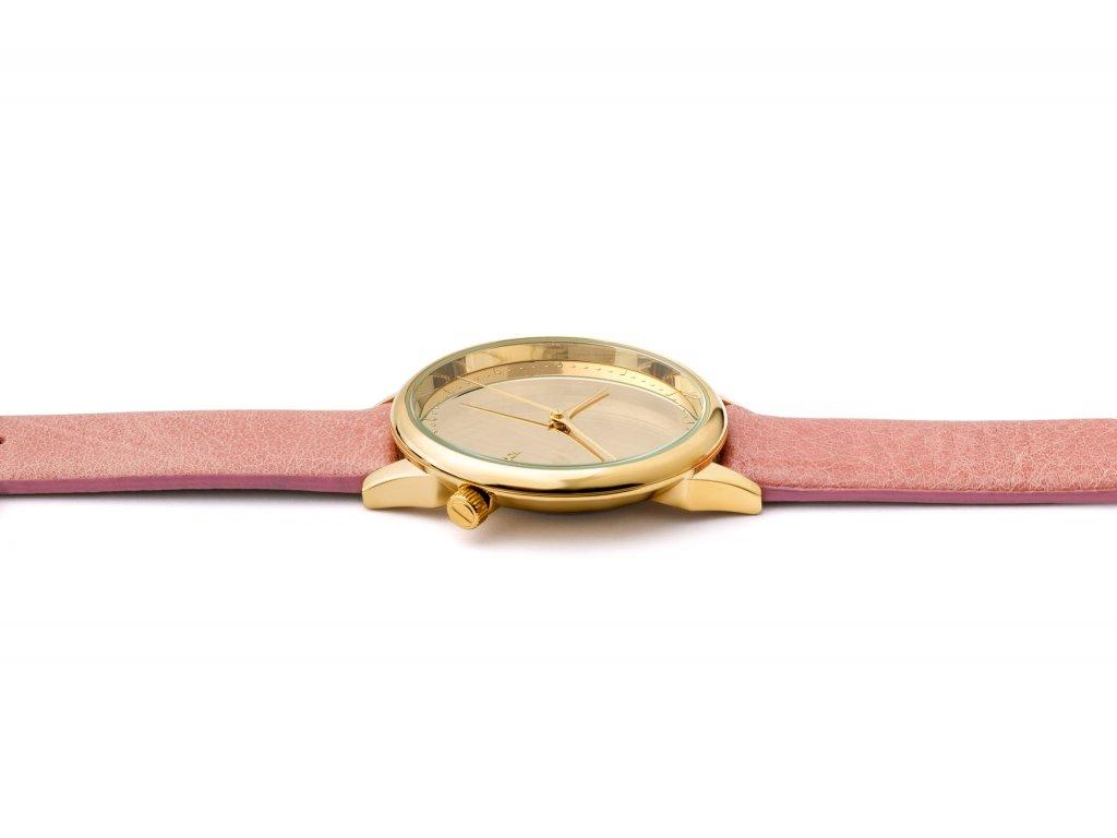 6e570cd3ef1 Dámské hodinky zlaté s růžovým páskem Komono Estelle Mirror Gold Blush -  Bagisimo.cz