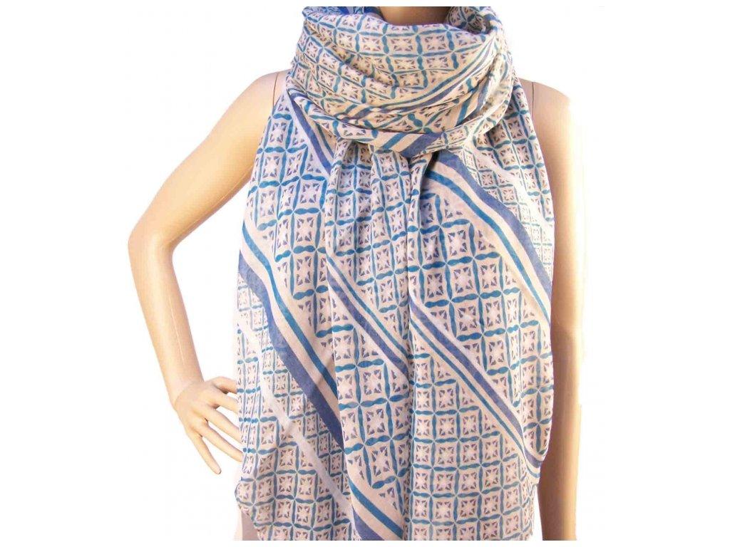 Šátek s barevnými motivy - Modrý