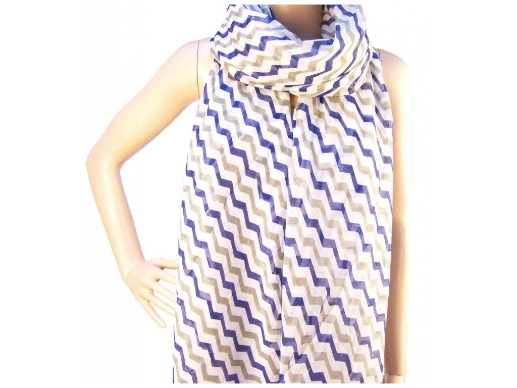 Šátek s proužky - Bílo modrý